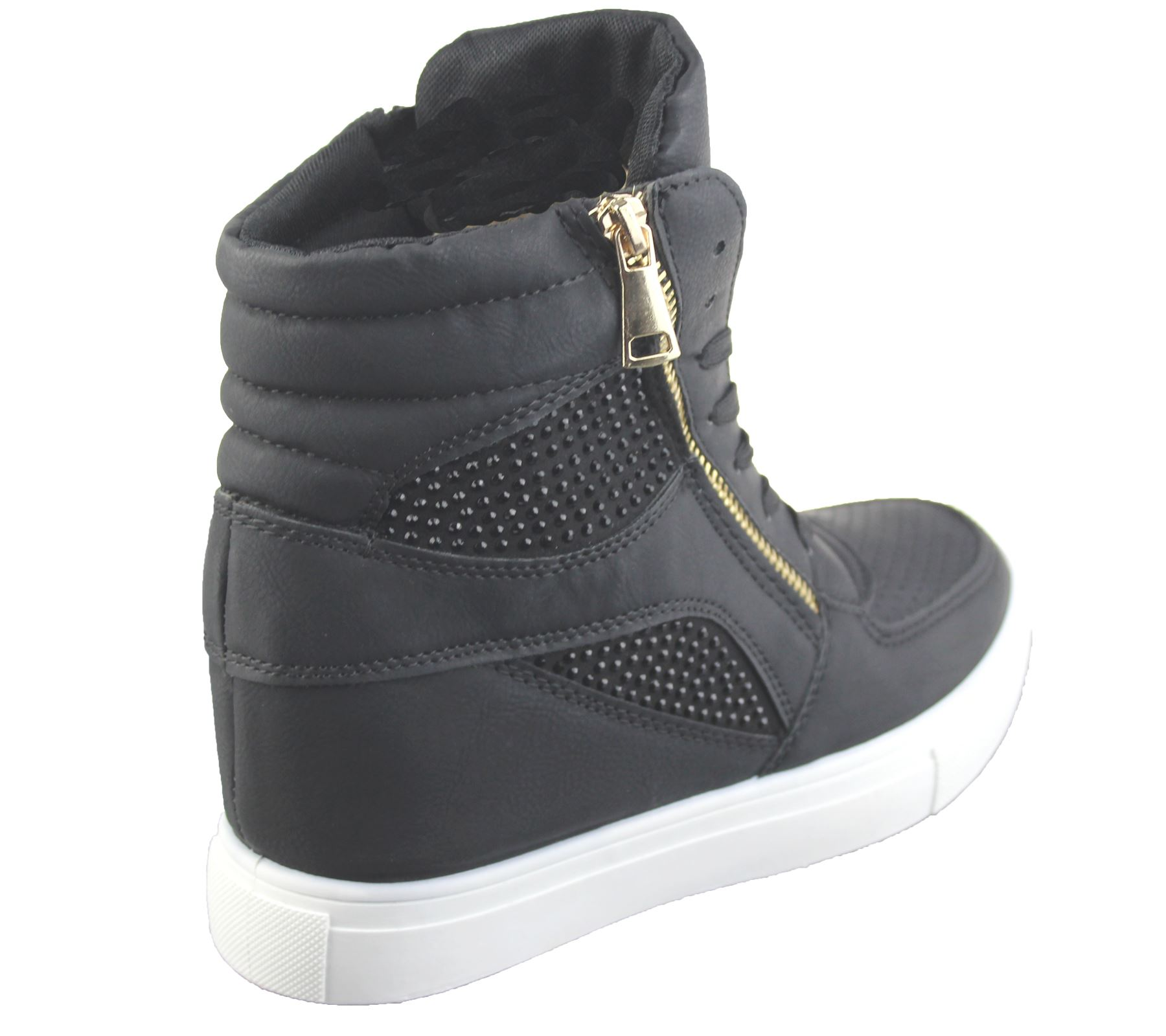 Zapatillas para mujer cuña Damas Botines Zapatillas Chica alta Top ... 8eb85a44926c