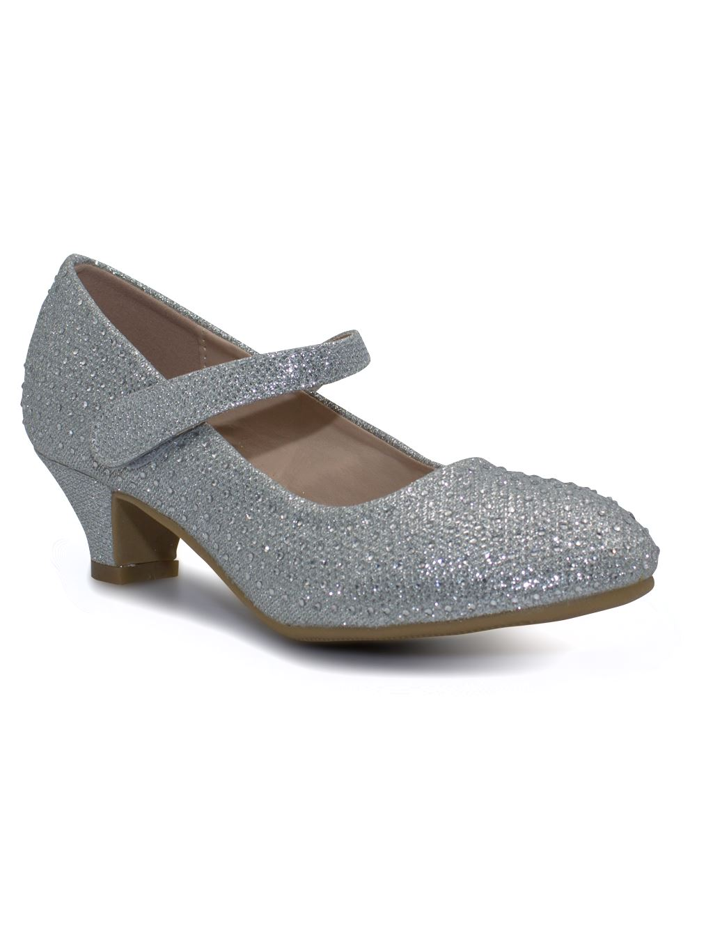 Girls-Party-Bridesmaid-Glitter-Diamante-Wedding-Block-Low-Heel-Shoes miniatura 7