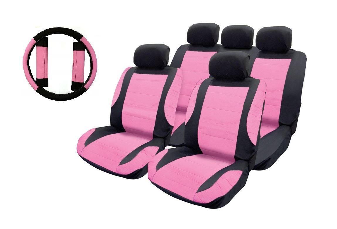 Pink Leather Look Car Seat Covers Steering Wheel For Peugeot 107 05 On 5213455008582 Ebay
