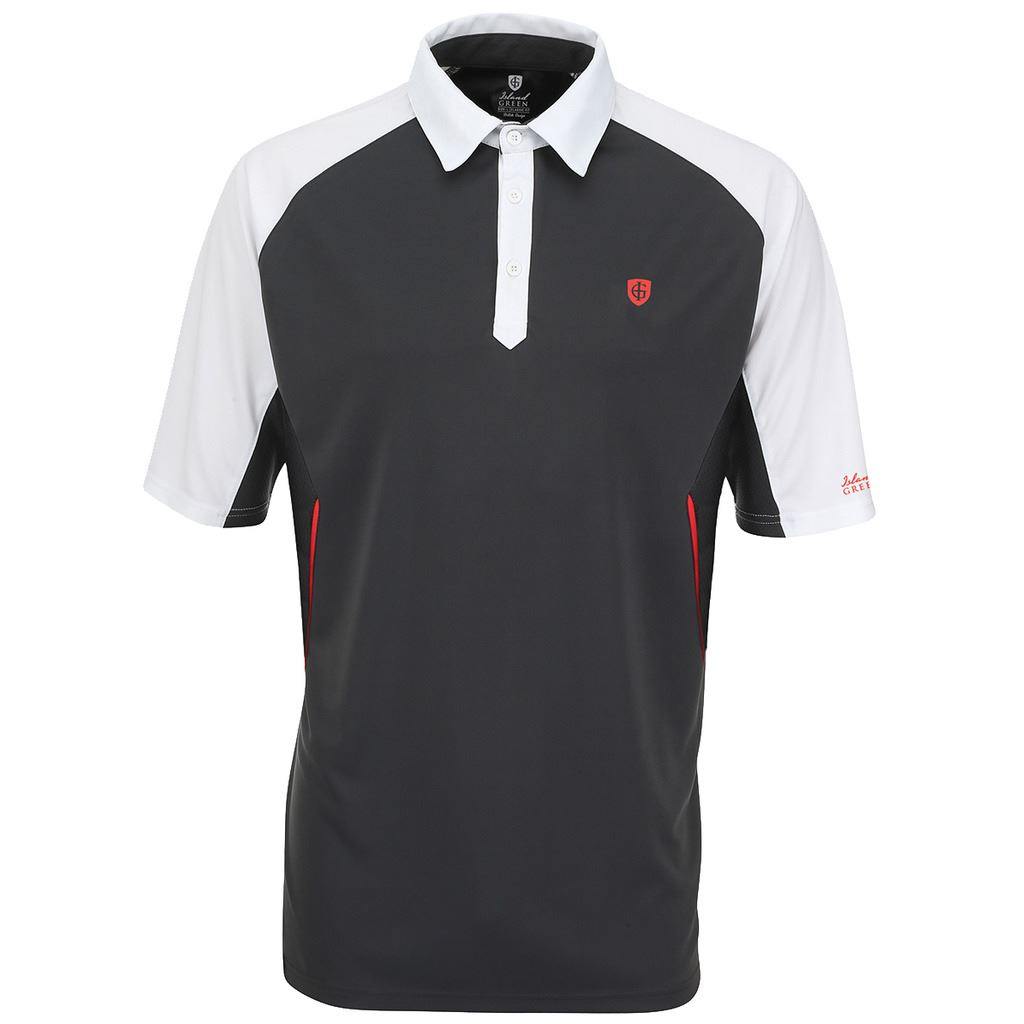 Island green logo chest performance cool pass mens golf for Cool mens polo shirts
