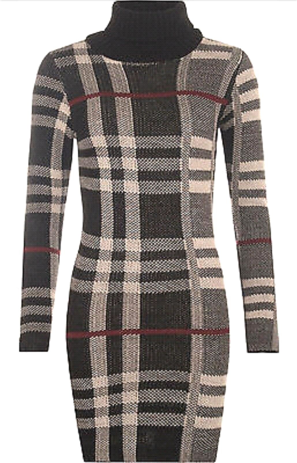 NEW-WOMENS-LADIE-POLO-COWL-NECK-KNITTED-TARTAN-CHECK-MINI-DRESS-COWL-TUNIC-TOP