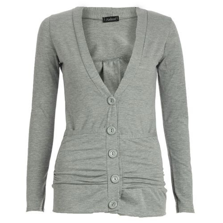 ONE LOOK CLOTHING Ladies Long Sleeve Boyfriend Pocket Cardigan 8-20