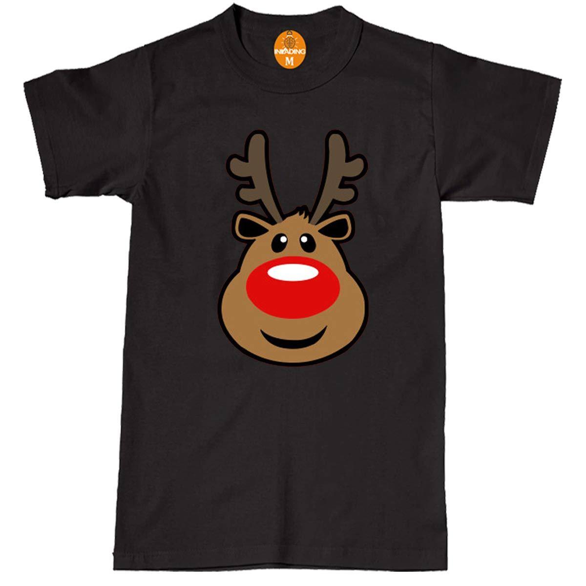 Men/'s Rudolph T-Shirt Reindeer Festive Xmas Gift Red Nose Christmas Santa