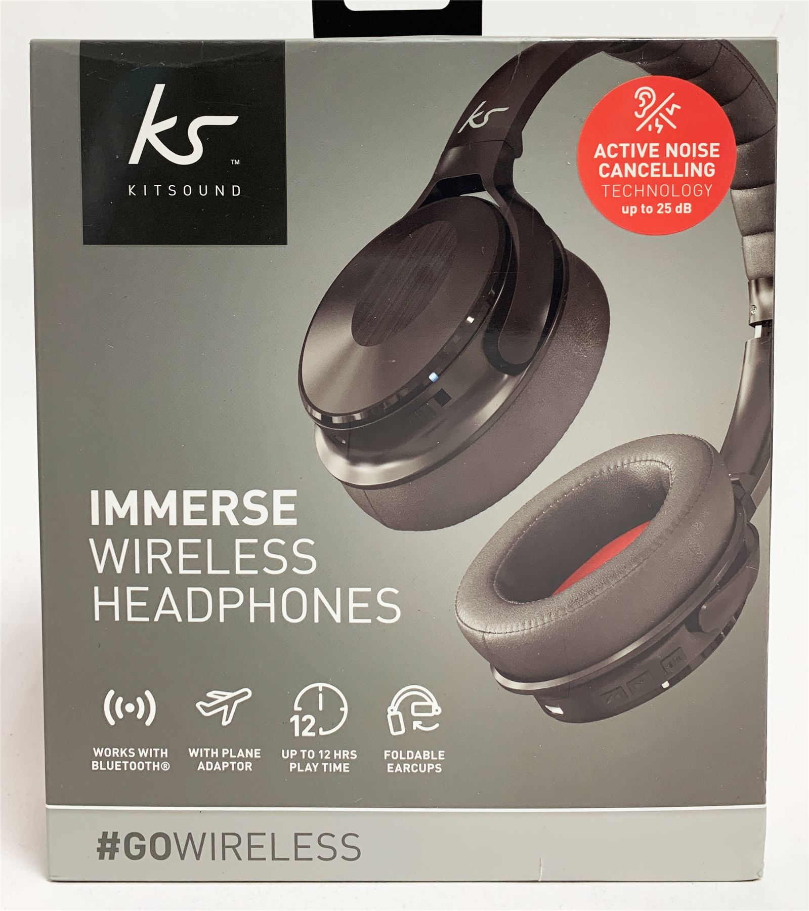 8131853c8eb Details about NEW KitSound Immerse Wireless Bluetooth Headphones Noise  Cancelling Black