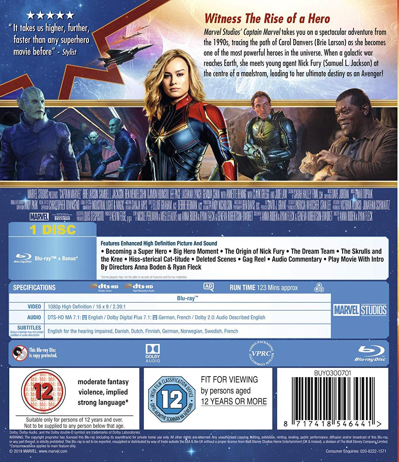 Details about NEW Sealed Captain Marvel Blu-ray Bonus Features 2019