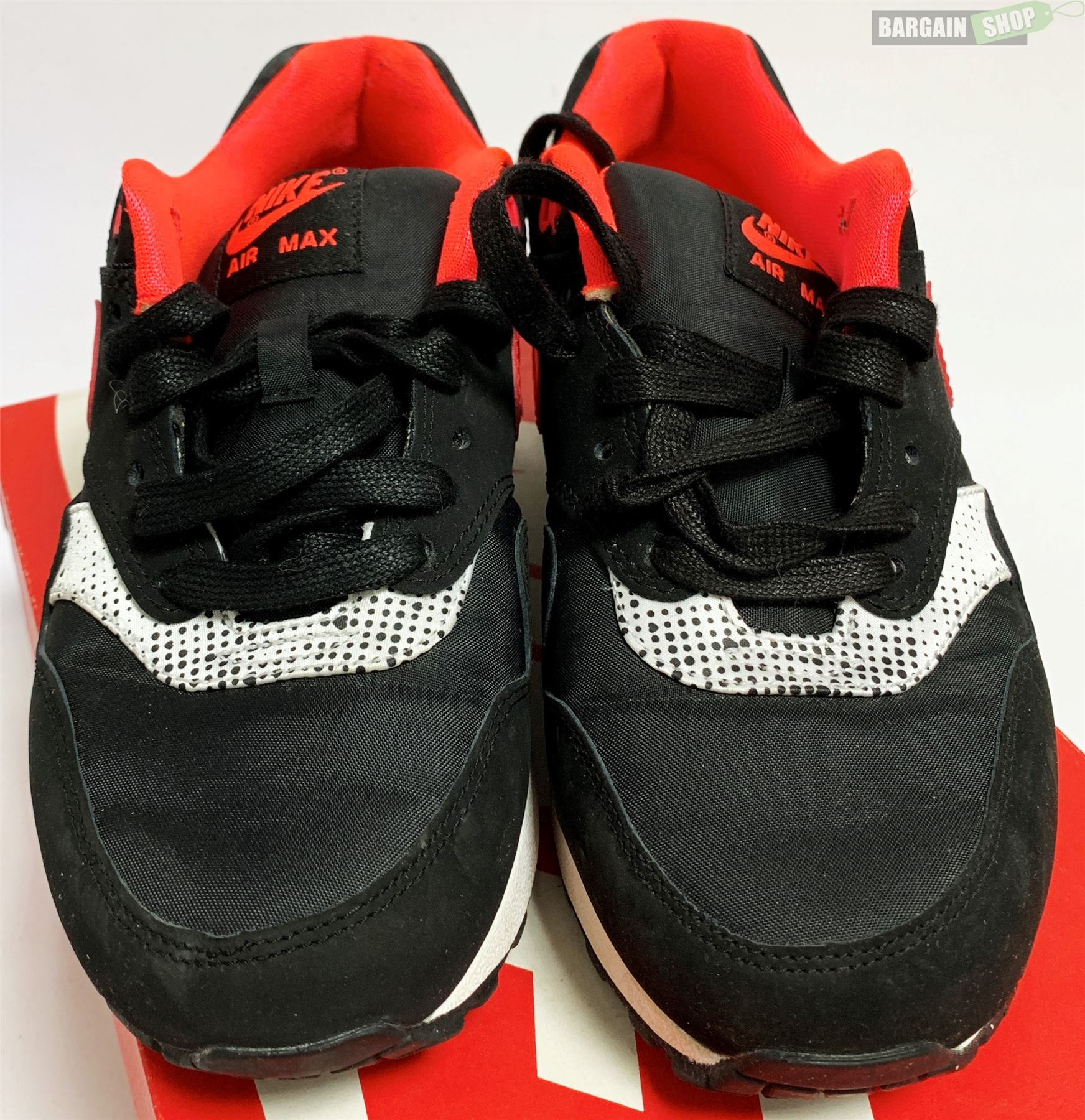 Womens Nike Air Max 1 (L) Black Laser Crimson White Trainers Size 3