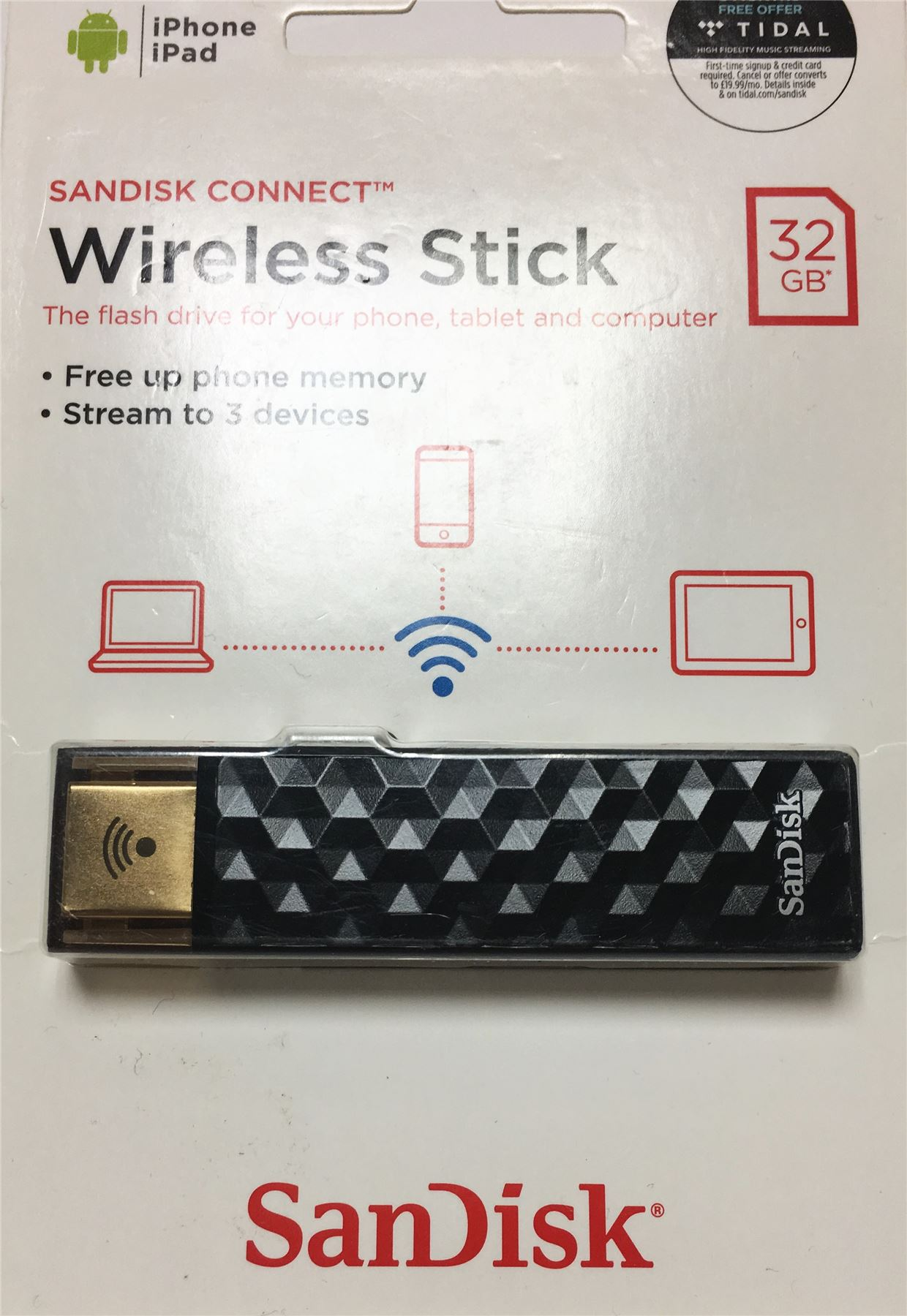 New Sandisk Connect 32gb Wireless Stick Black Usb Flash Drive Stream Flashdisk Wifi 3 Devices