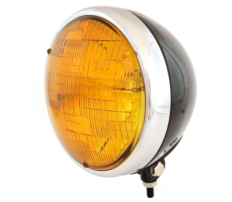 7 Bottom Mount Headlight w//Grill Motorcycle Custom Spotlight Black