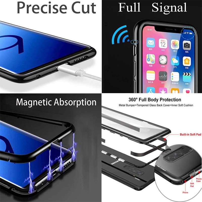 huge discount 395ed d6240 Details about Magnetic Absorption Metal Bumper Glass Case Cover For Samsung  Galaxy S7 S7 Edge