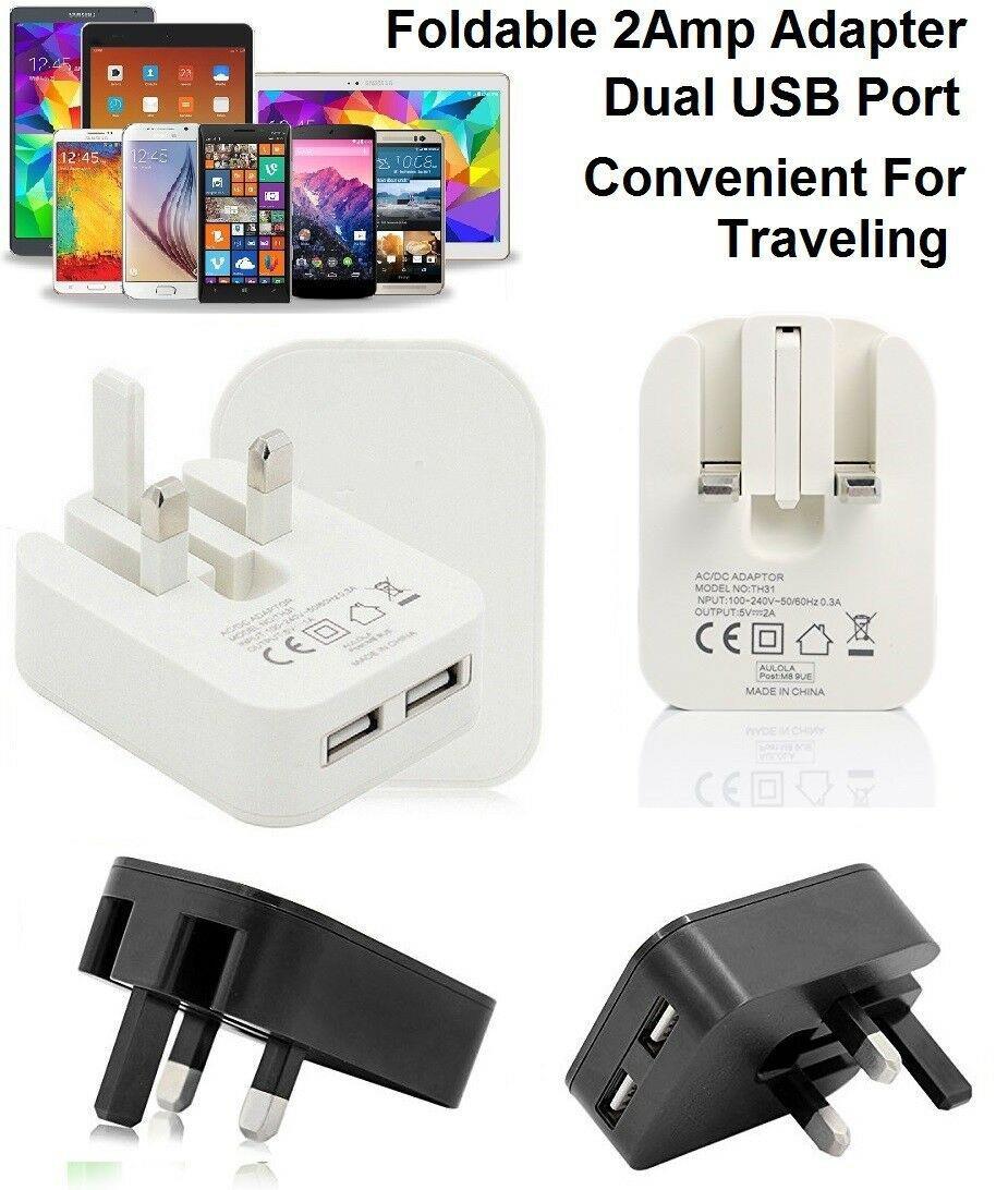 Universal USB Power Plug Single Port Fast Charging 3 Pin UK Mains Plug Adapter