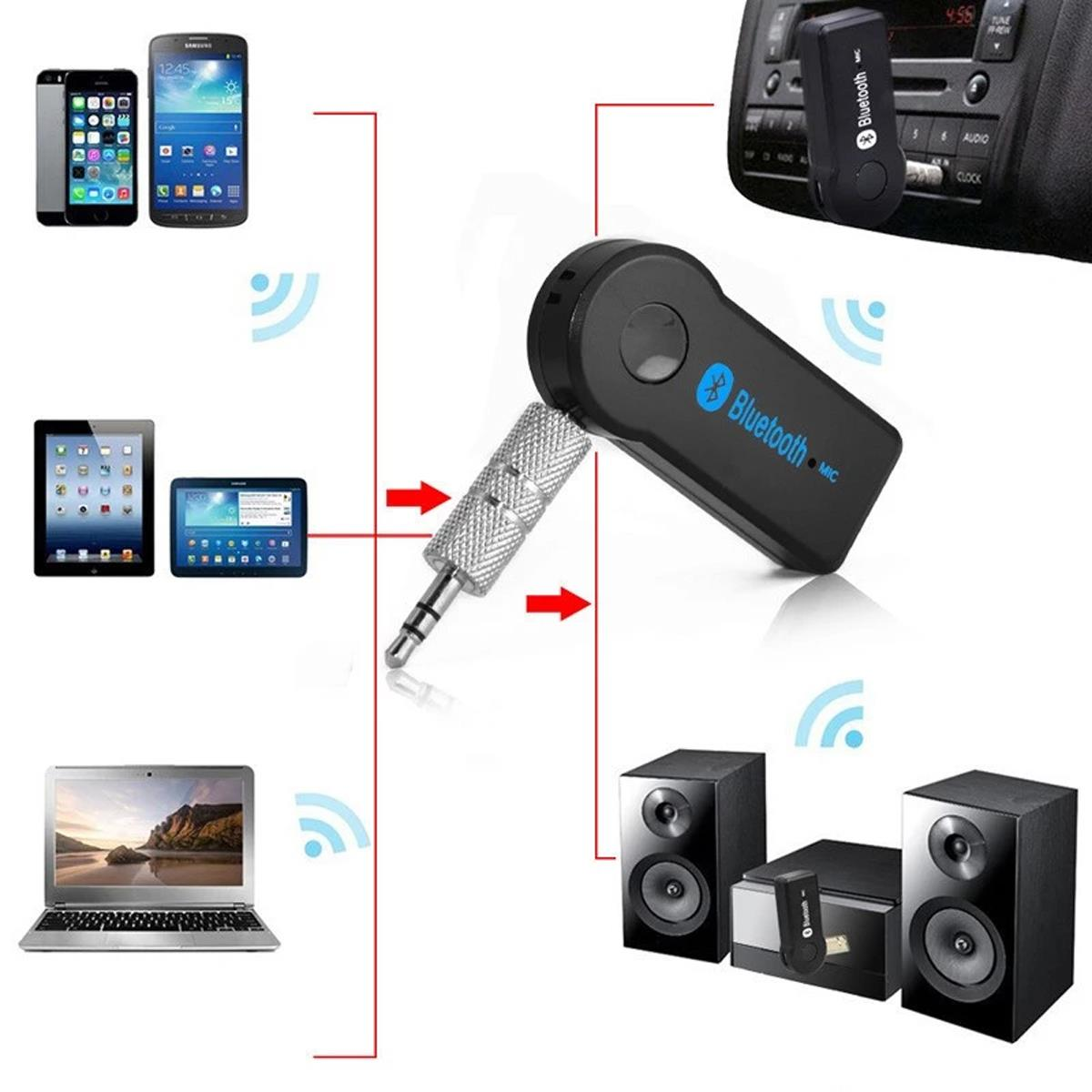 Wireless Bluetooth 3.5mm AUX Audio Stereo Music Car Receiver Adapter Mic