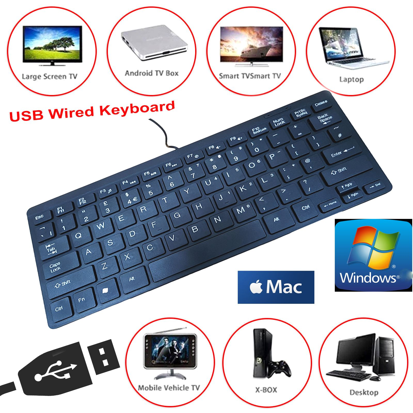 black mini slim 78 key usb wired compact thin keyboard for desktop laptop mac pc ebay. Black Bedroom Furniture Sets. Home Design Ideas