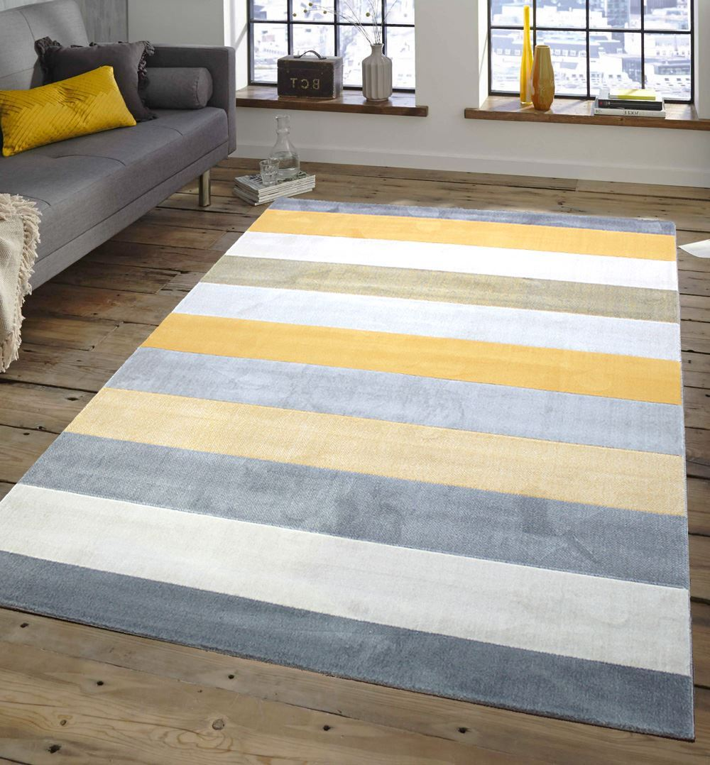 Perfect Venus Stripe Cream Mustard Gold Grey Extra Large Modern Floor Rug  NI61
