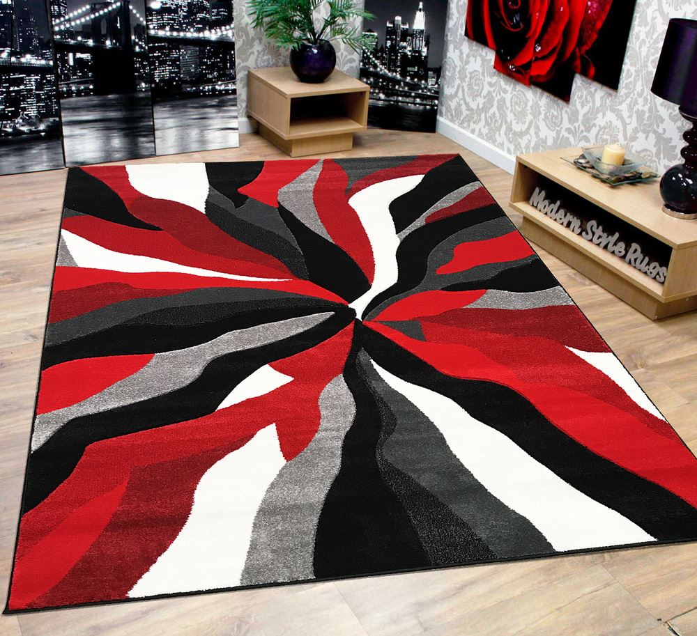 modern soft touch quality floor rug black red white grey