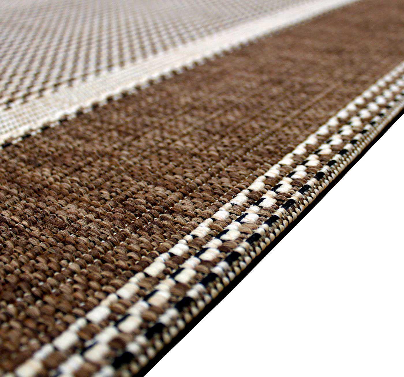 New Flatweave Border Pattern Hardwearing Indoor Outdoor Rug Beige