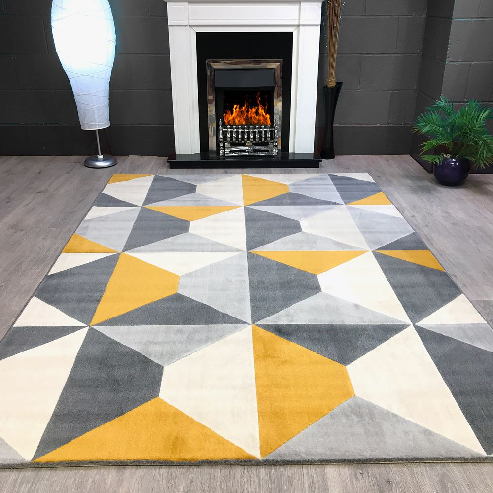 A Large Living Room To Socialise In: Modern Style Rugs Living Room Cream Grey Mustard Large