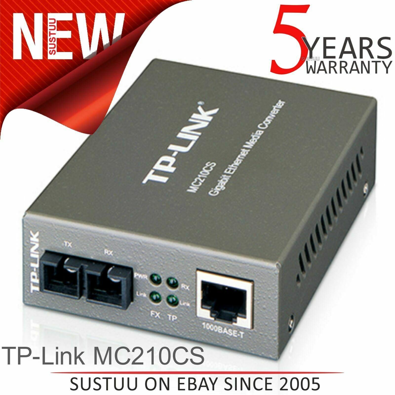 TP-LINK MC210CS Gigabit Ethernet Single-Mode SC Fiber Media Converter RJ45 LAN