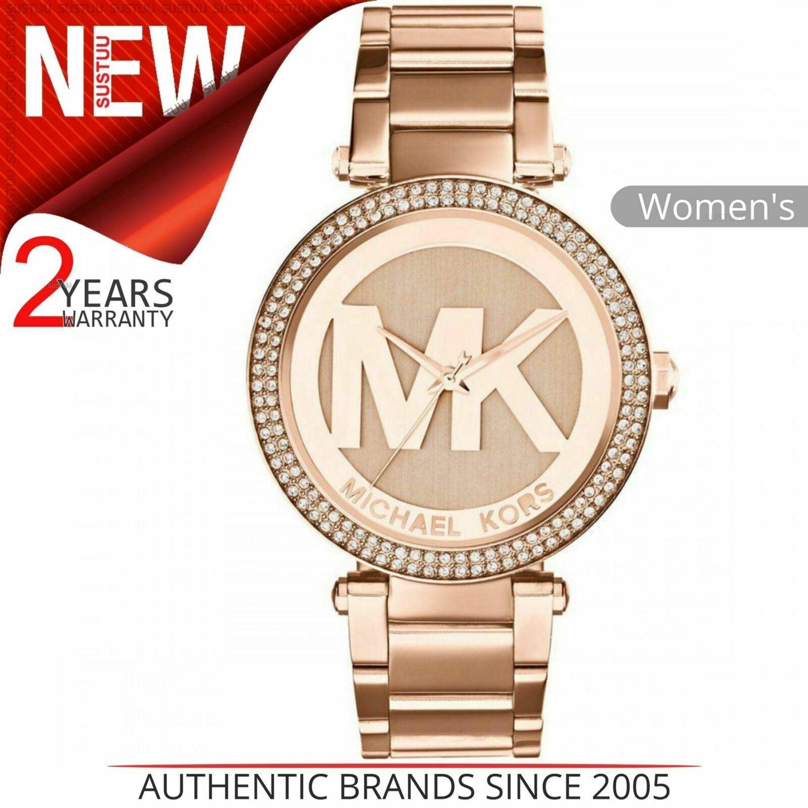 Details about Michael Kors Parker Women's Watch¦Rose Gold MK Logo Dial¦Bracelet Band¦MK5865