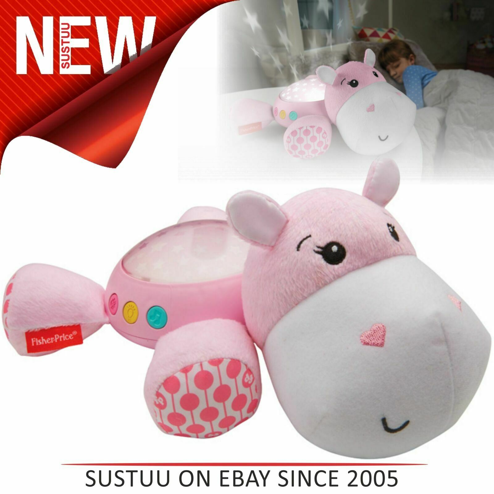 FISHER-PRICE HIPPO PROJECTION SOOTHER-PINK-FAST /& FREE DISPATCH