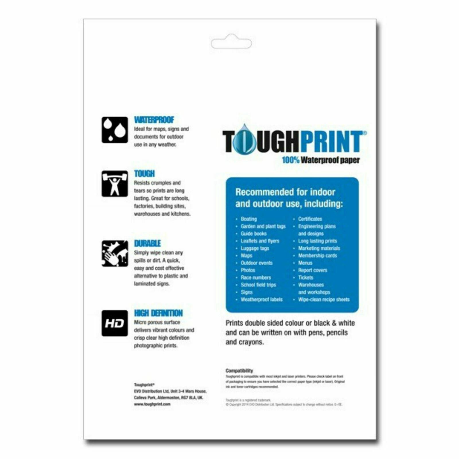 ToughPrint Waterproof Inkjet Paper│Use for Maps//Signs//Documents│250 x A4 Sheets