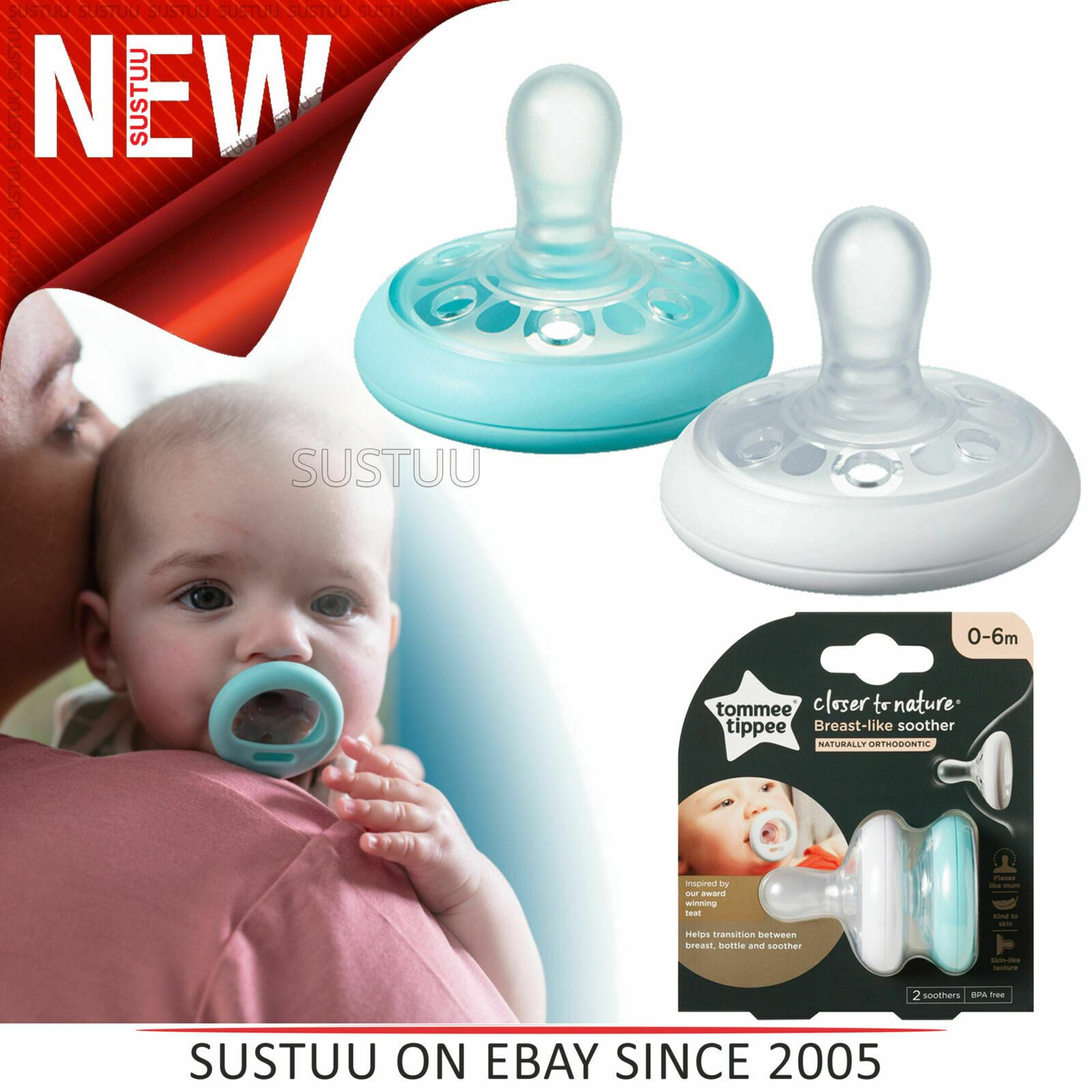 3 x Tommee Tippee Closer to Nature sein comme mannequin sucettes 0-6 mon Blanc