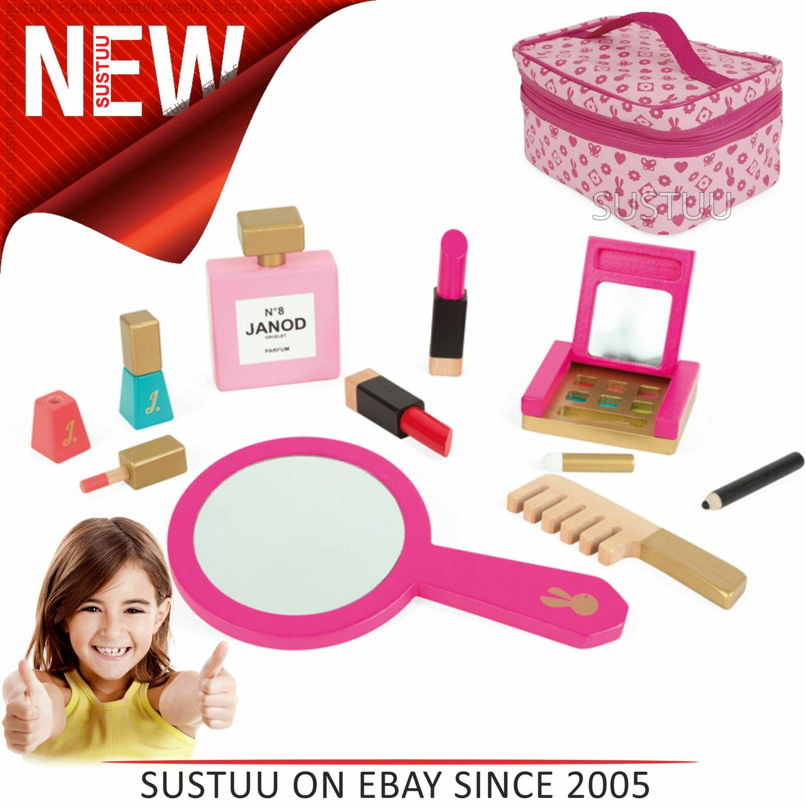 Janod Little Miss Vanity Case Beauty Play Set 10pc Wooden Make Up