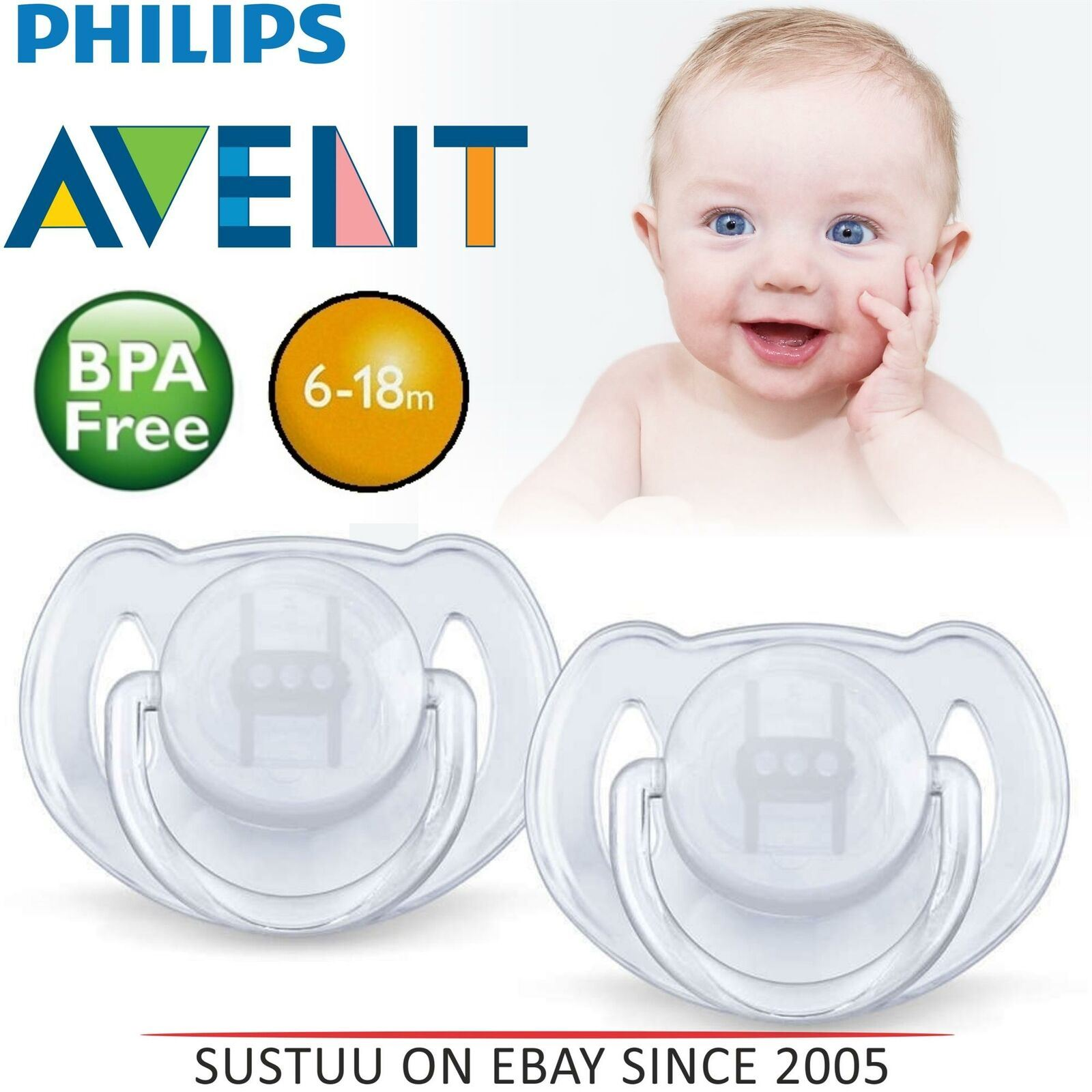 Philips Avent Translucent Soothers 6-18m Transparent