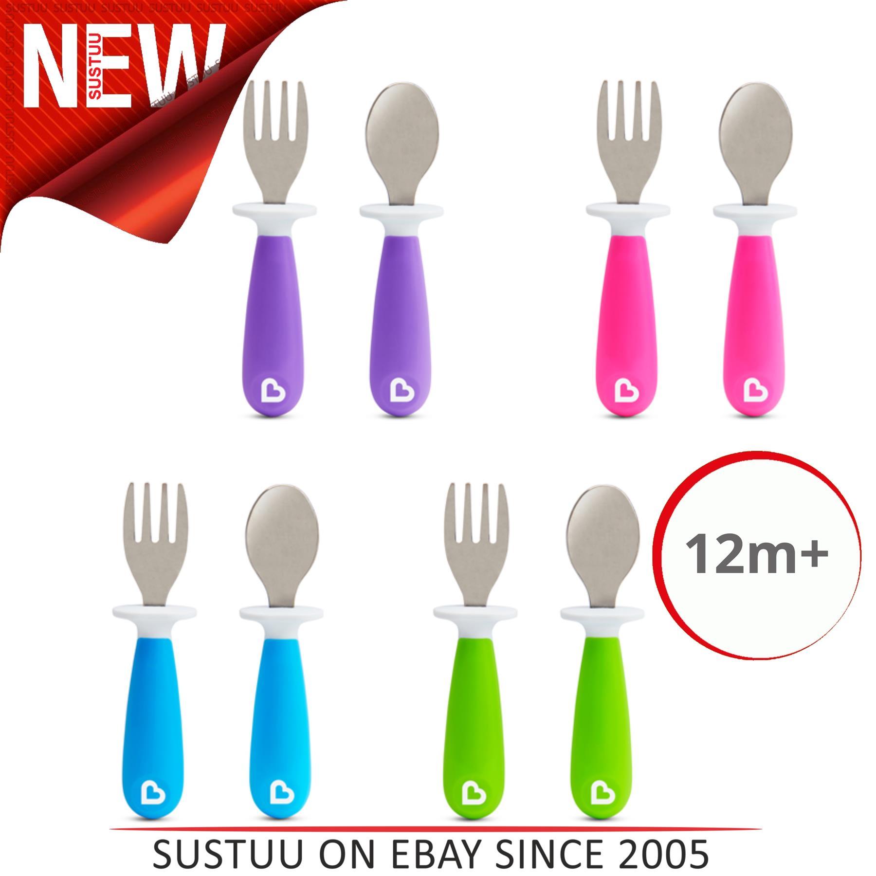 Munchkin Raise Fork /& Spoon Set|Baby Self Feeding Utensils Cutlery|Blue|12m+