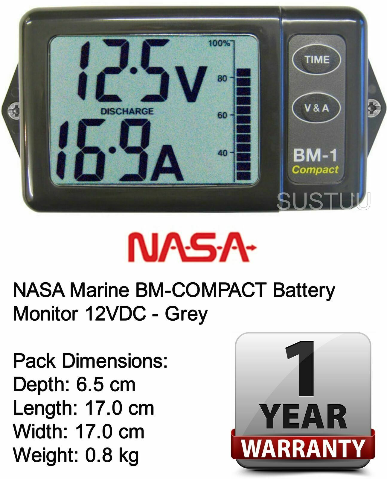 NASA Clipper BM1 Battery Monitor 12 Volt with 5m Cable│For Marine /& Boats