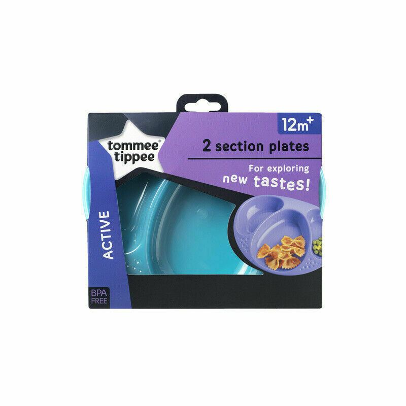 Age 12m+ Tommee Tippee Explora Section Plates BPA free 4 colours 2 Pk