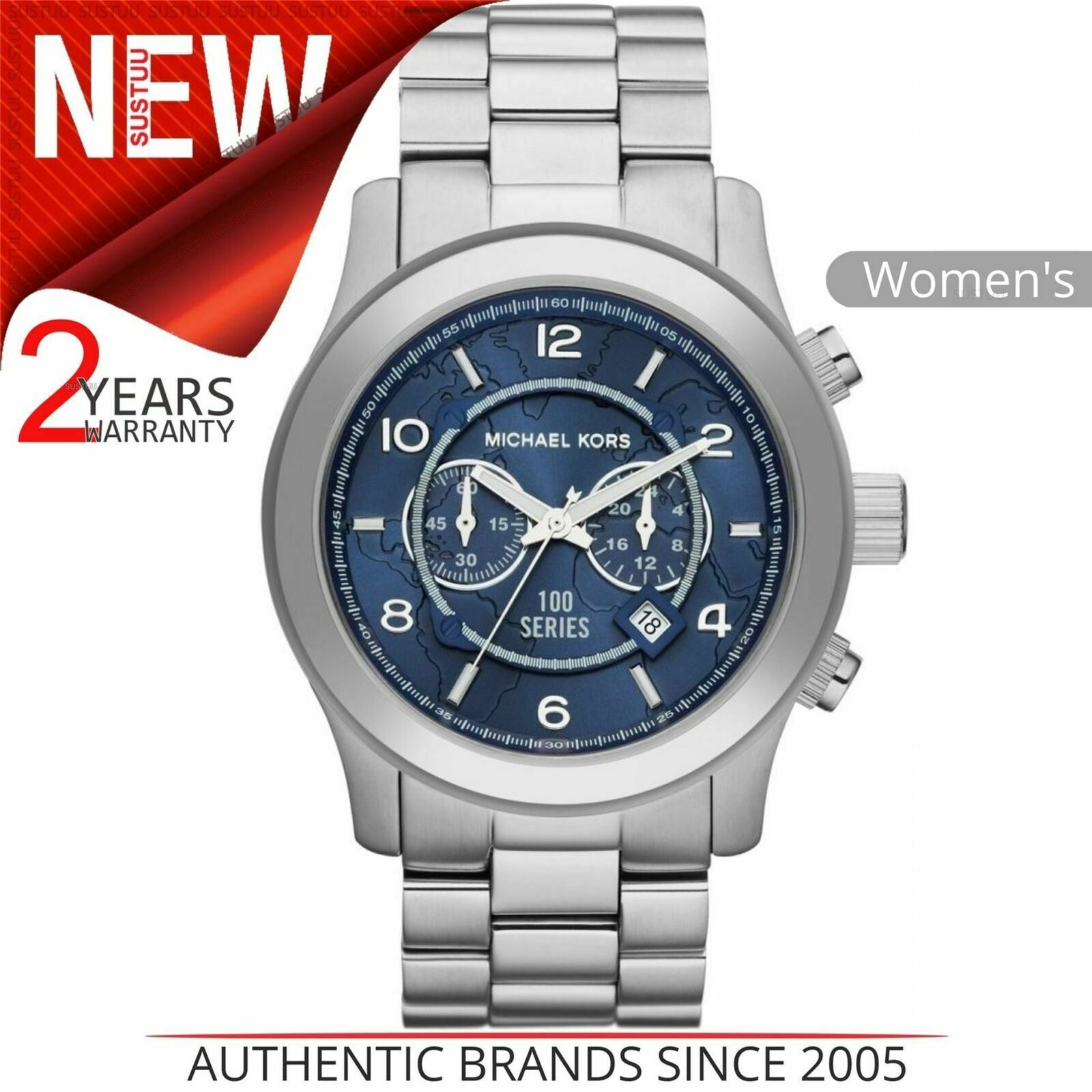 Details about Michael Kors Hunger Stop Men's Watch¦Chronograph Blue Dial¦Stainless Band¦MK8314