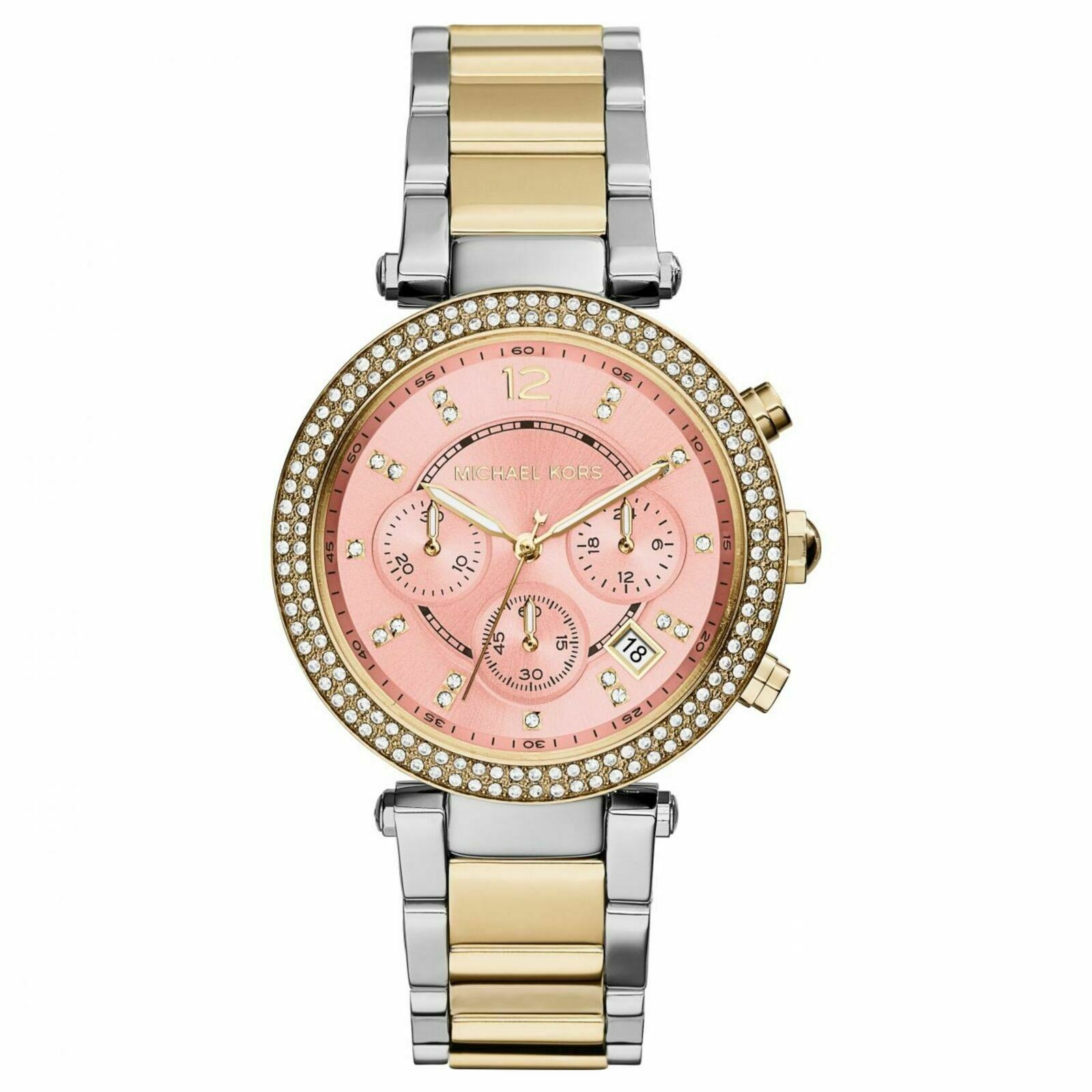 Details about Michael Kors Silver Parker Chronograph Pink Dial Two Tone Ladies Watch MK6140