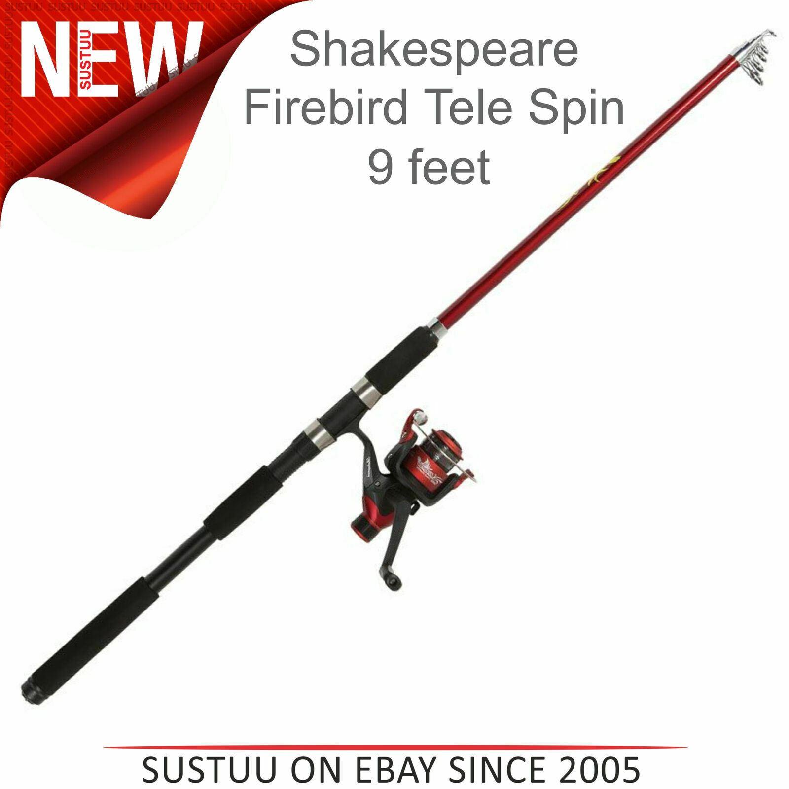 Firebird Reel Mono Spinning Combo Shakespeare Firebird 8ft /& 9ft Spin Rod