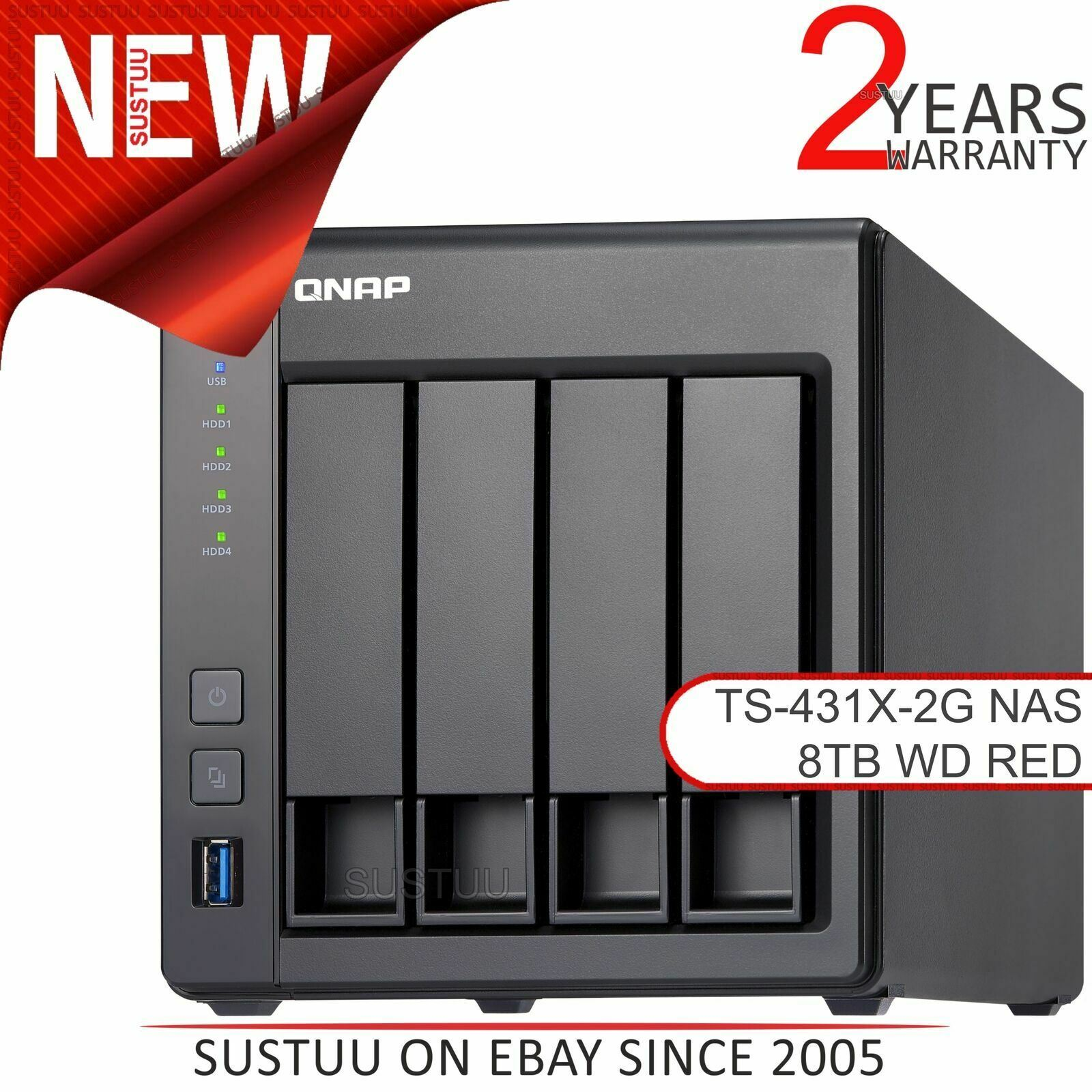 Installed with 4 x 2TB Western Digital Red Pro Drives QNAP TS-431X-8G 8TB 4 Bay Desktop NAS Solution