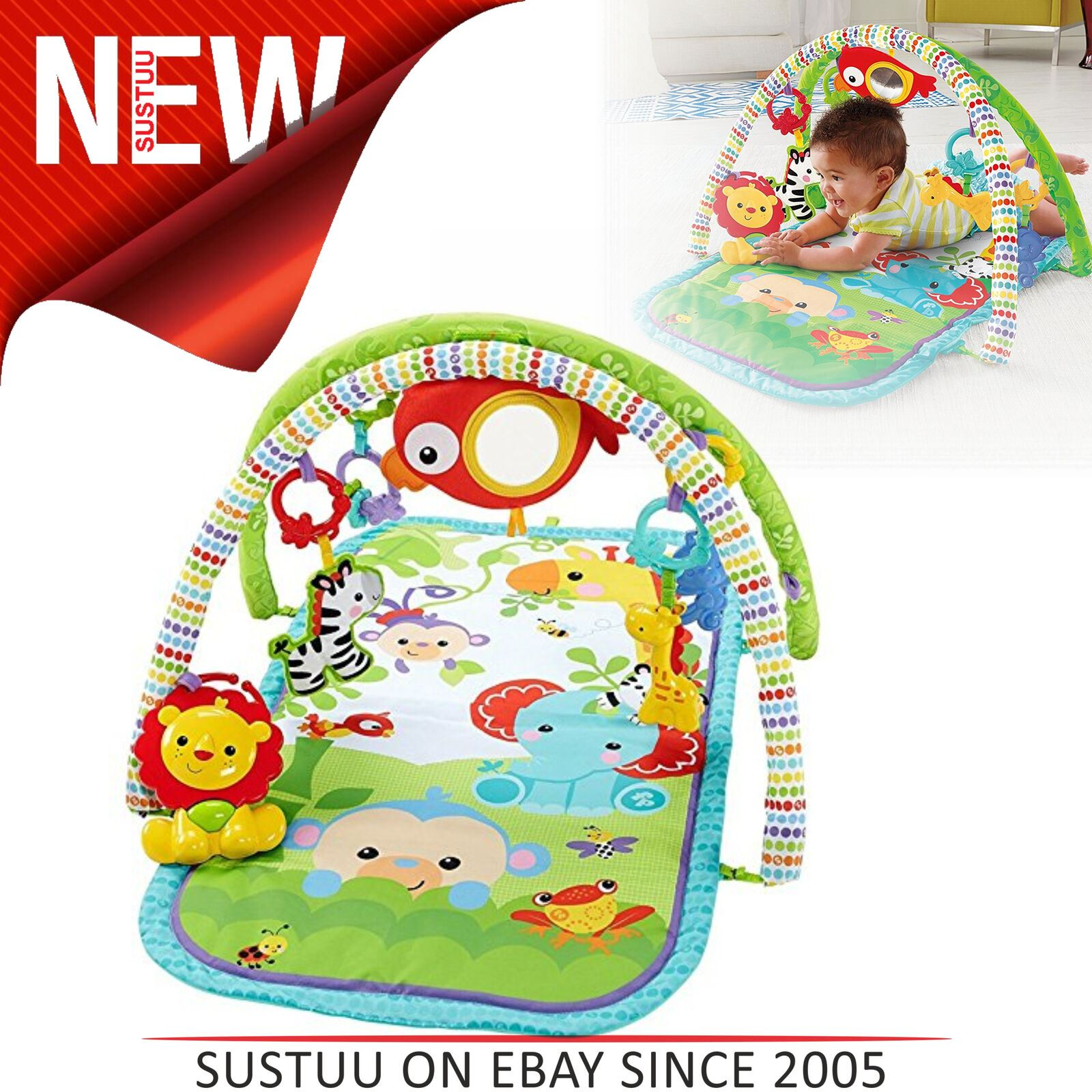 Fisher-Price 3-in-1 Busy Baby Rainforest Sensory Activity ...