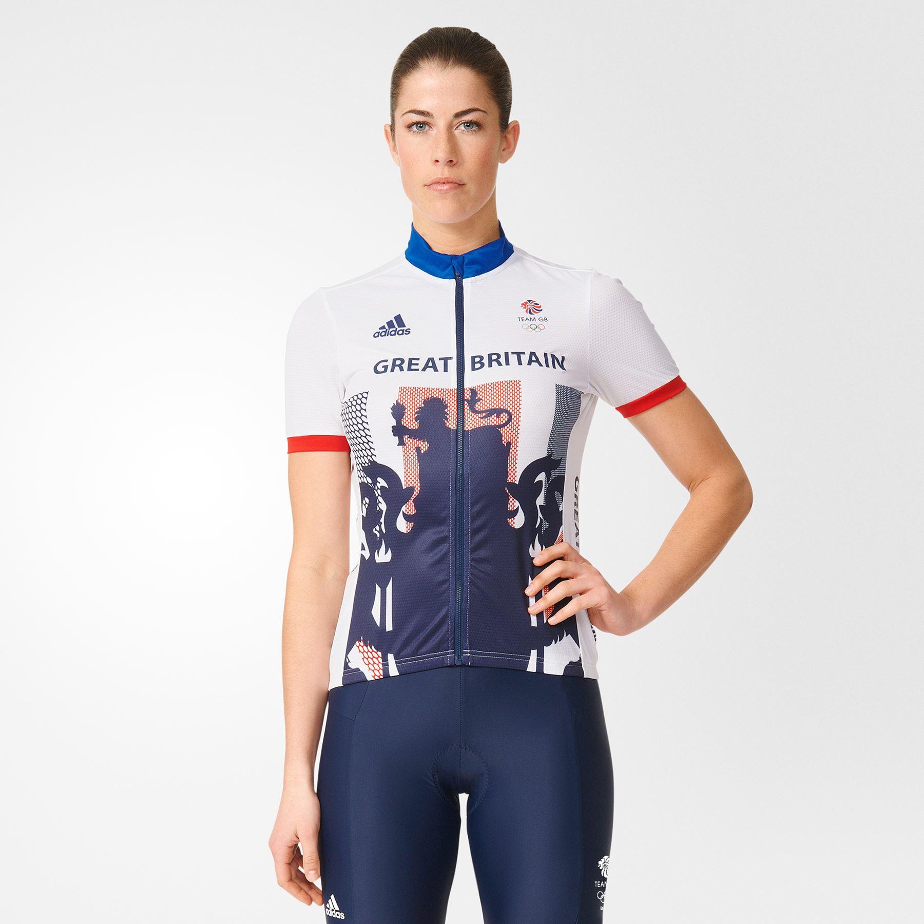 Adidas Womens Ladies Team Gb Replica Cycling Zip Up Jersey