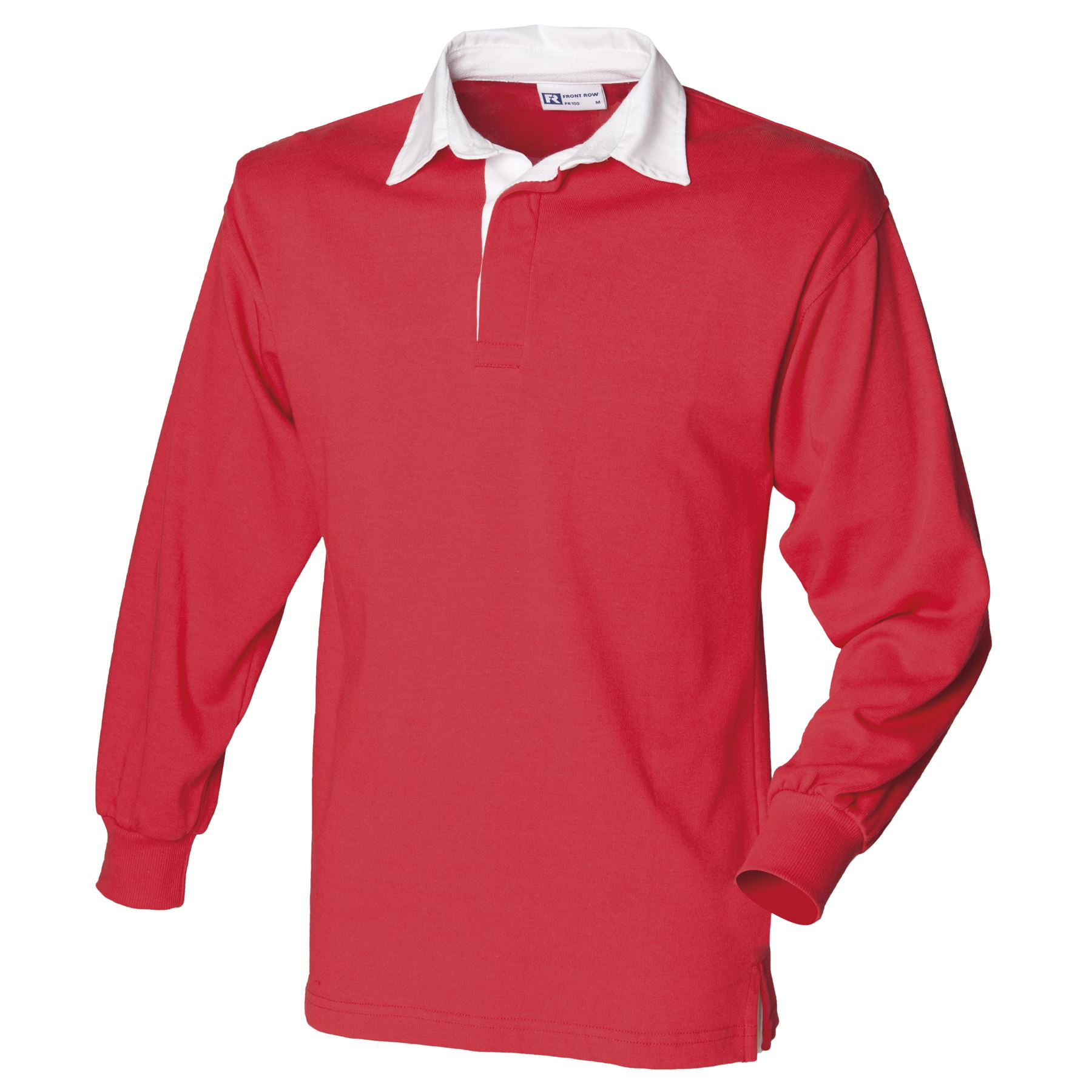 Front Row Long Sleeve Plain Rugby Shirt Red White 3xl Fr100rdwh3xl