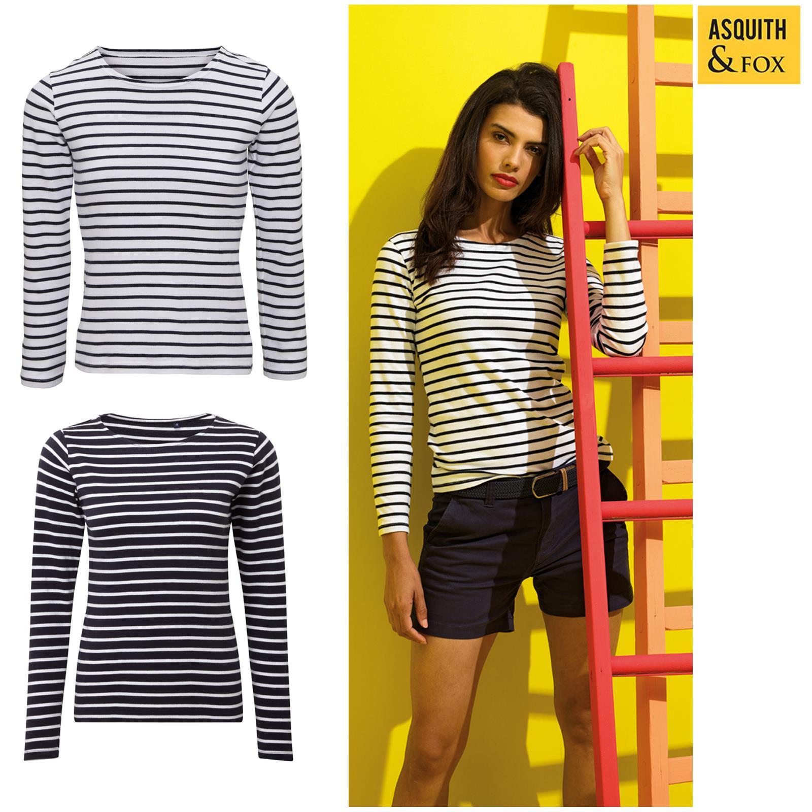 Asquith & Fox Women's Mariniere Coastal Long Sleeve Tee - Striped Cotton T-shirt Durch Wissenschaftlichen Prozess