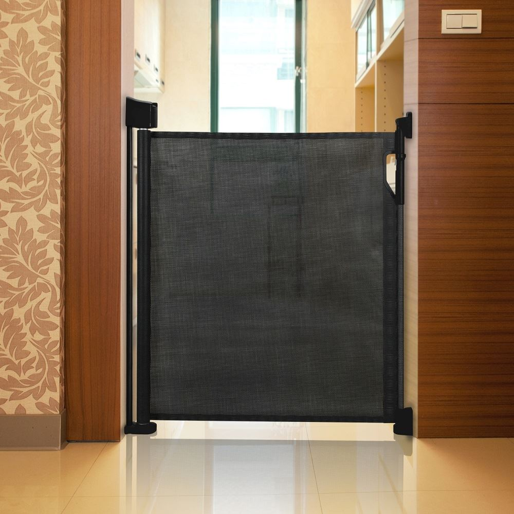 safetots advanced retractable dog gate extra wide indoor pet gate black barrier ebay. Black Bedroom Furniture Sets. Home Design Ideas