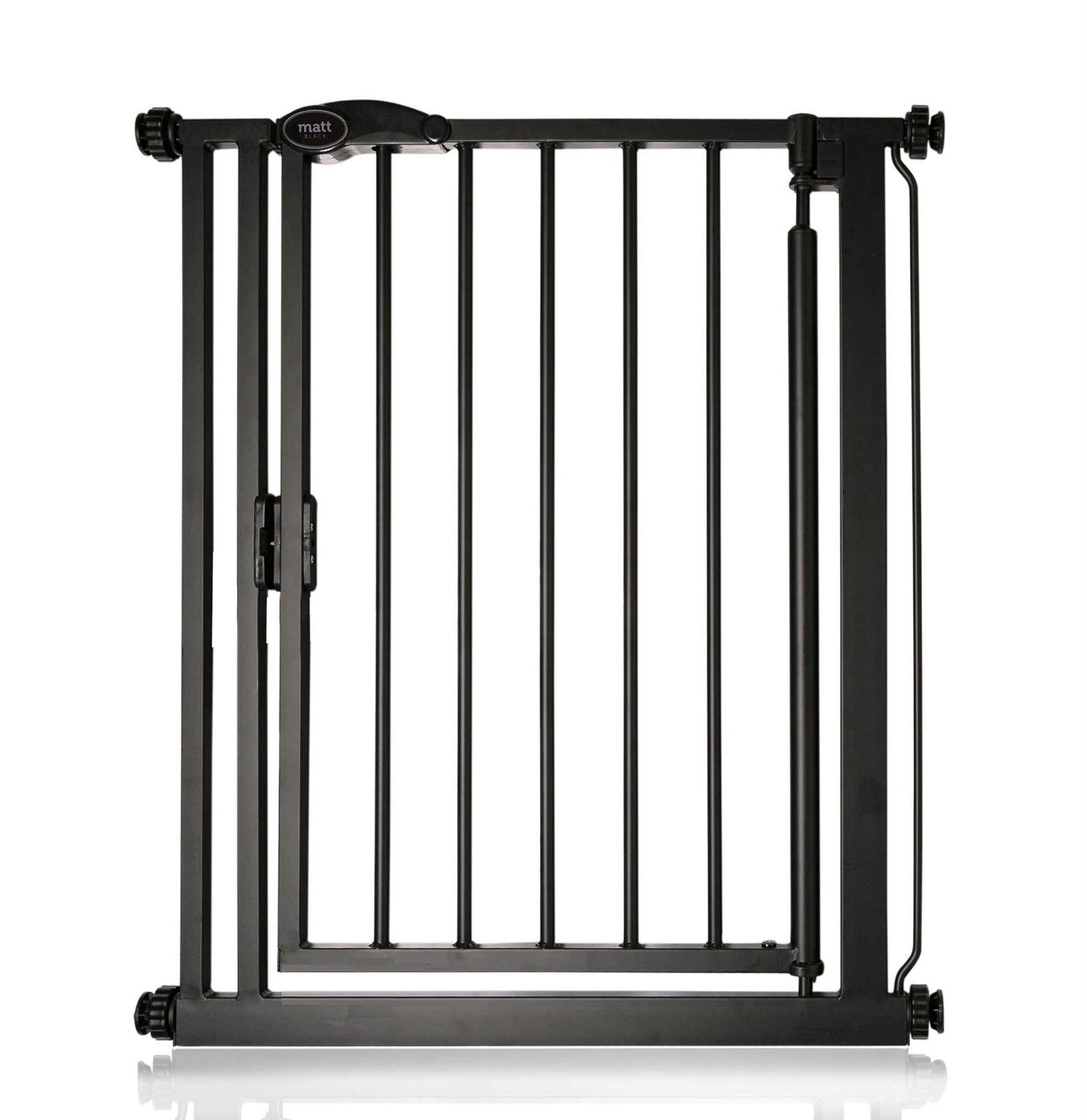 Safetots Premium Auto Close Pressure Fit Stair Safety Gate Matt Black 75-82cm