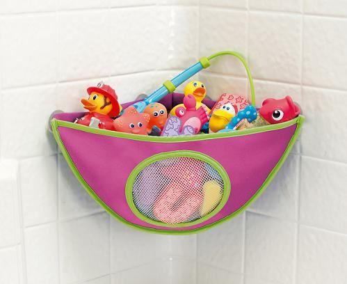 Munchkin Corner Bath Toy Organiser   Pink   Baby Girl Bath Toy Storage