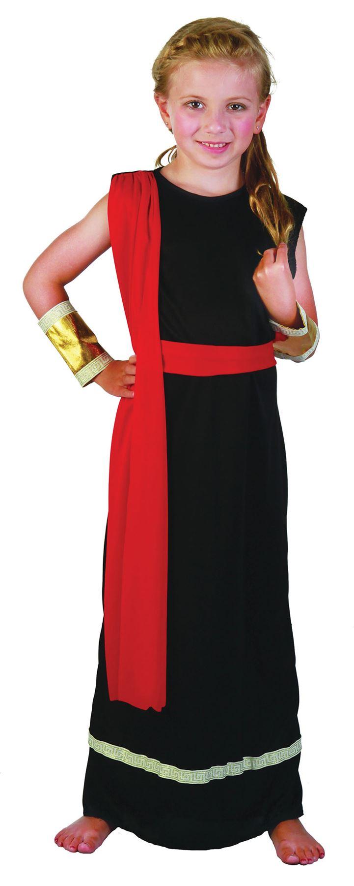Girls Black Roman Toga Greek Grecian Goddess Book Week Fancy Dress