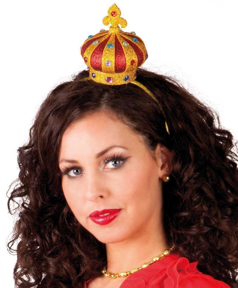 Ladies Crown Headband Queen Hearts étagère Age Royal Fancy Dress Accessory