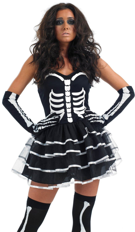 ladies sexy skeleton bones tutu halloween fancy dress