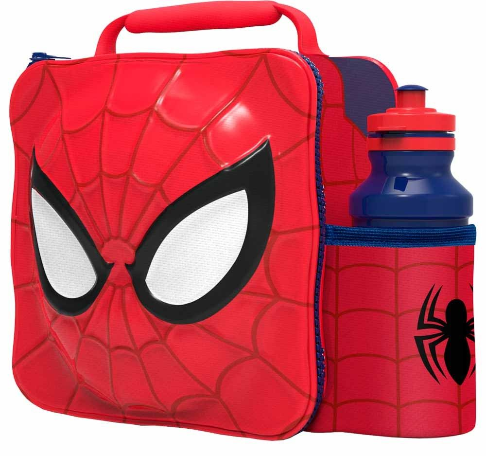 Kids Children Insulated 3d Lunch Bag Box And Drink Bottle Set Sport Spray Spiderman