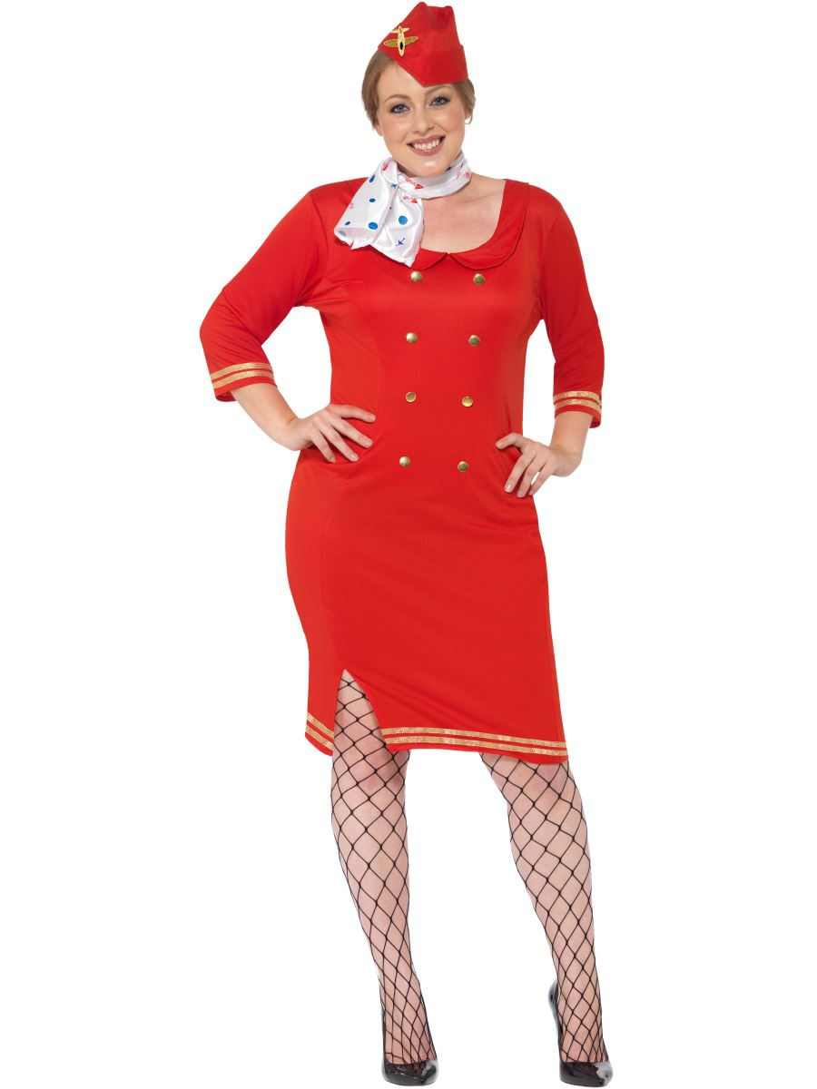 Ladies Curves Red Air Hostess Costume Plus Size Flight Attendant