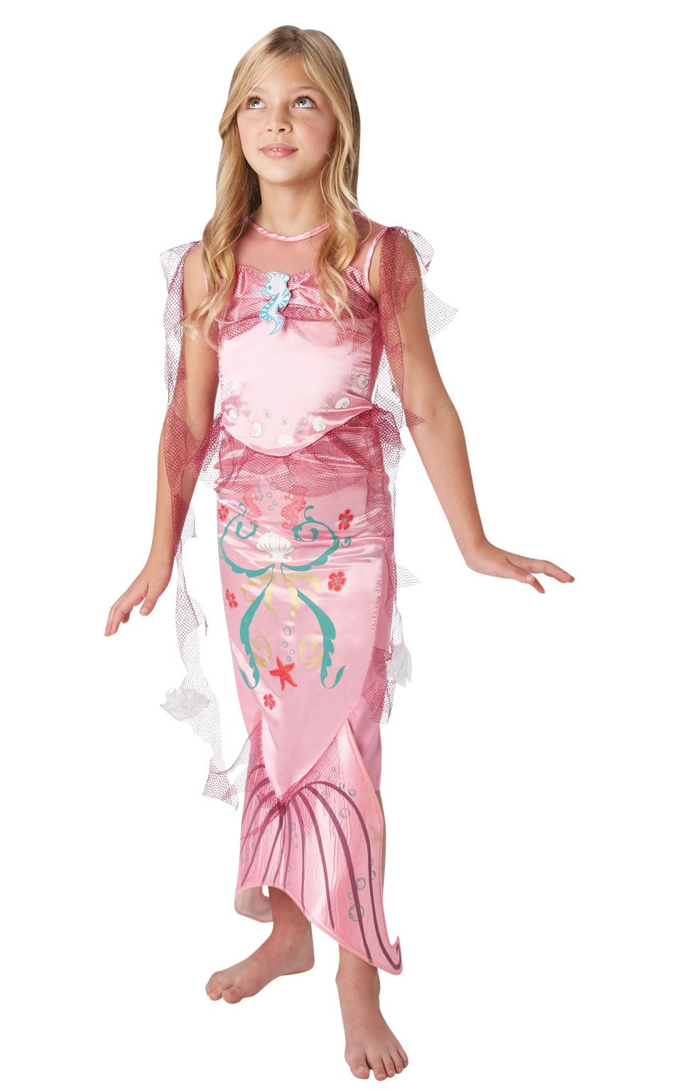 Girls-Pink-Little-Mermaid-Costume-Fairy-Tale-Fancy-  sc 1 st  eBay & Details about Girls Pink Little Mermaid Costume Fairy Tale Fancy Dress Child Princess Outfit