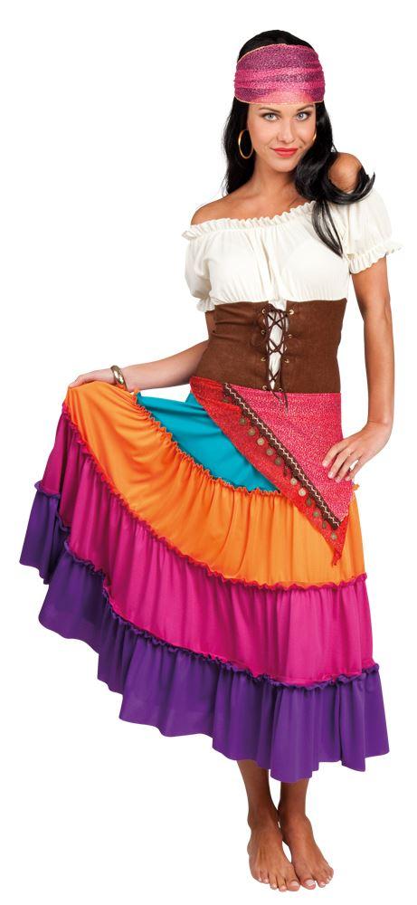 ladies deluxe romany gypsy fortune teller fancy dress costume womens