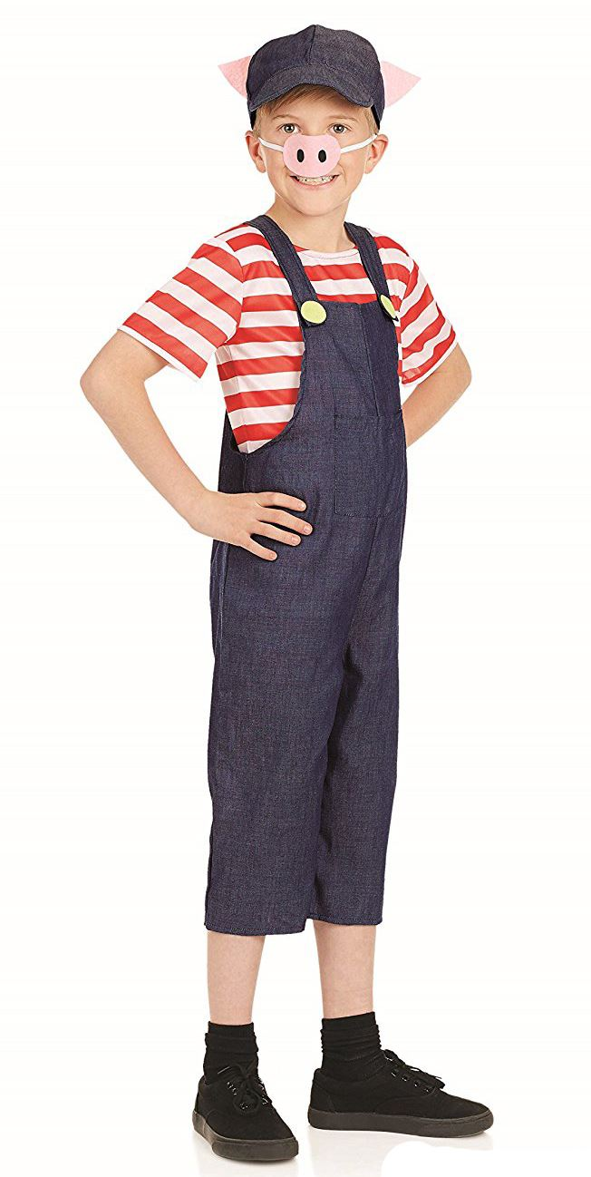 Child-Three-Little-Pigs-Costume-Boys-Girls-Pig-  sc 1 st  eBay & Child Three Little Pigs Costume Boys Girls Pig Fancy Dress Kids Book ...
