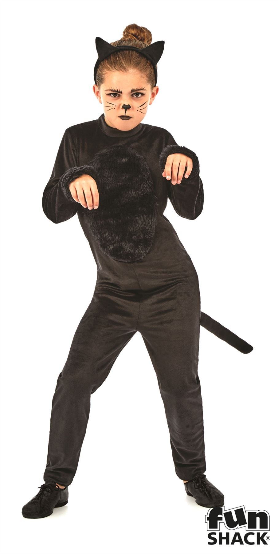 girls black cat halloween costume animal jumpsuit fancy dress outfit